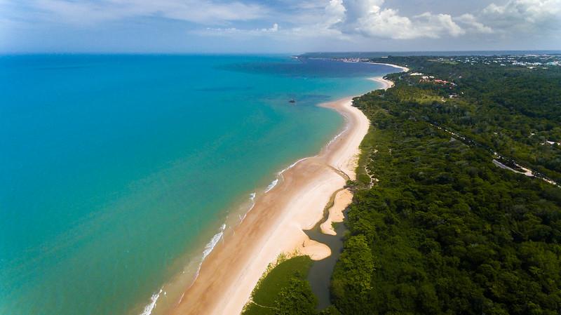 Vista de cima da praia de Mundai em Porto Seguro na Bahia com uma grande vegetação verde do lado direito e um mar de água azul do lado esquerdo