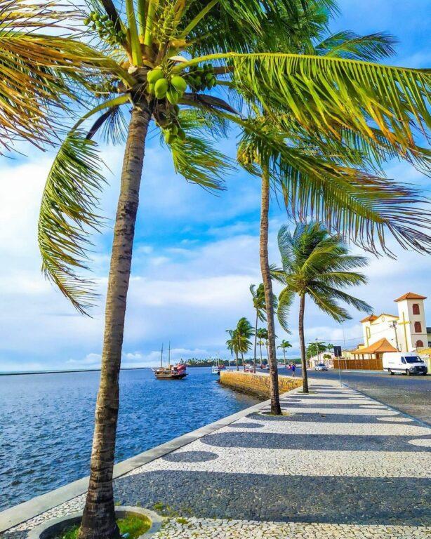 Calçada da Passarela do Álcool com coqueiros e um mar azul marinho abaixo em Passarela do Álcool em Porto Seguro na Bahia